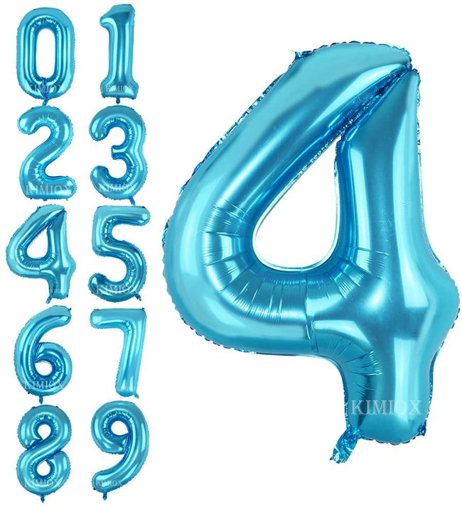 Blue digit Foil Birthday Party Balloon Number 4