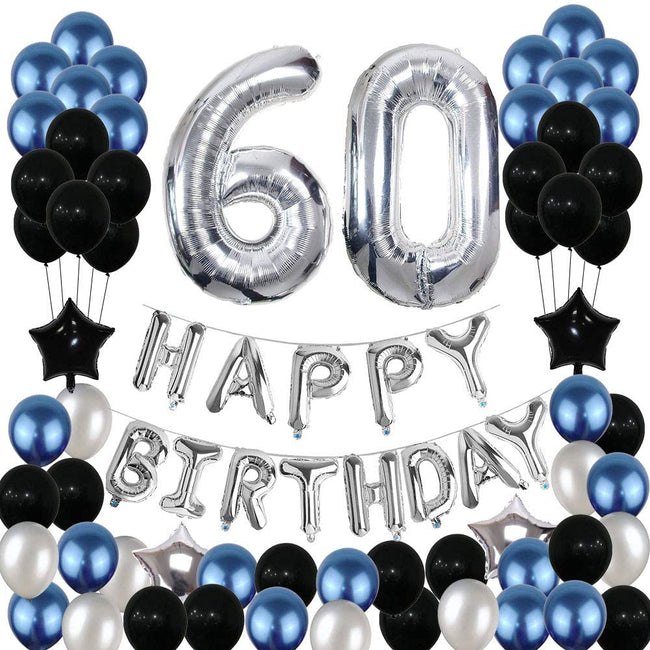 60th Birthday Decorations,60 Birthday Balloons Party Supplies Happy 60 Birthday Banner Blue and Silver Black Foil Star Balloons for Women Men