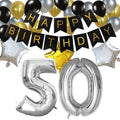 "50th Birthday Party Decorations Kit-Birthday Banner, Silver 50 Number Balloon - 16"", Black, Gold & Silver Latex Balloons & Silver and Gold Star Foil Balloon"