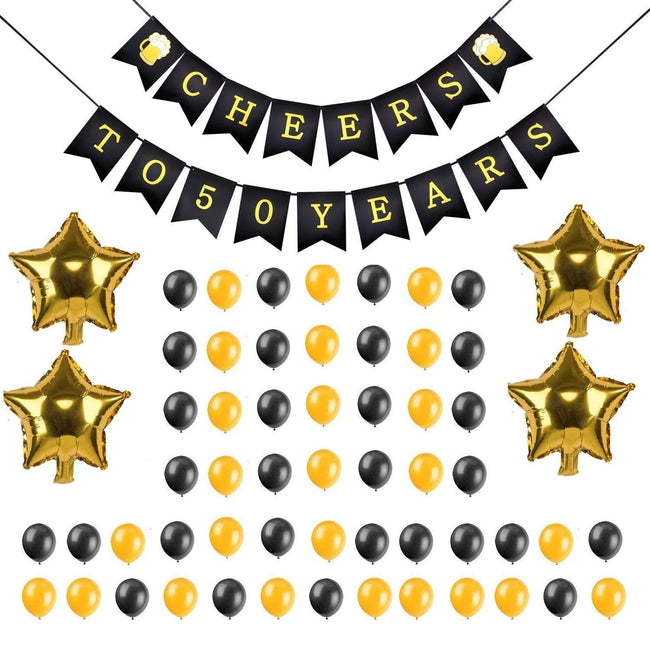 50th Birthday/Anniversary Decoration Combo - Cheers for 50 Years Banner ,Latex balloons ,Star Foil Balloons