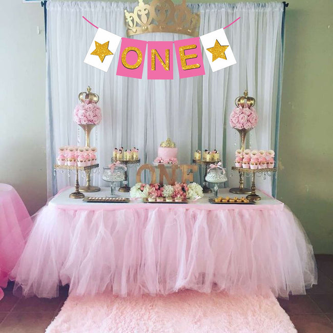 """One "" First Birthday Girl Banner , Bunting & Garland Photo Booth Props Decoration"