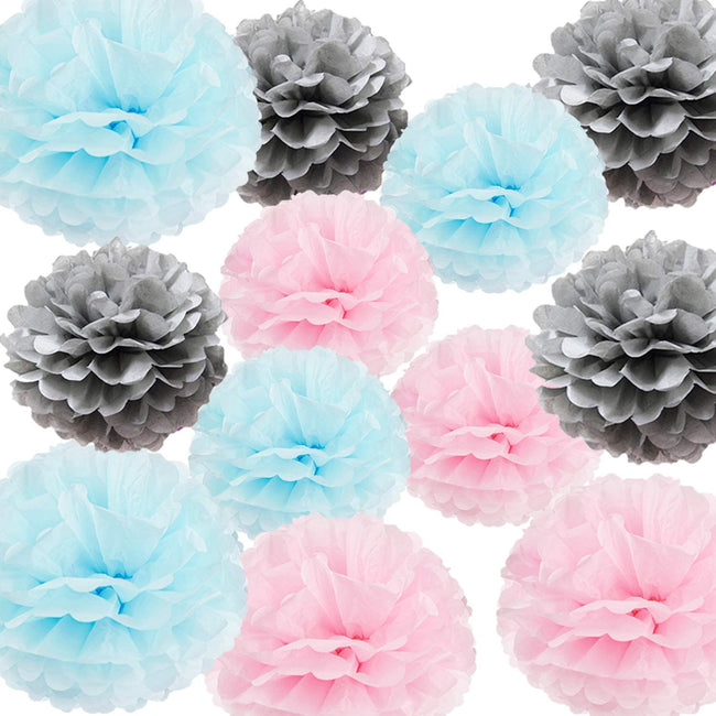 """Blue, Pink and Silver""  Pom Pom flower Decoration  for birthday parties, Anniversary party & baby shower"
