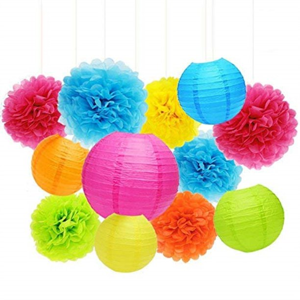 Multi color Tissue Paper Pom Poms and  Paper Lanterns -Birthday Party Decorations, Bridal Shower Decorations, Wedding Decorations, Baby Shower Decorations
