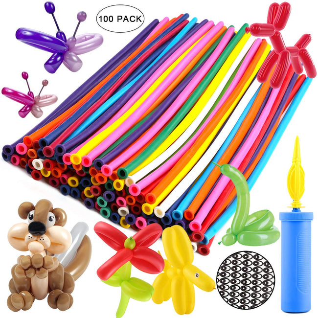 Twisting Balloons - Latex Long Balloons (Pack of 100+ Balloon Pump)