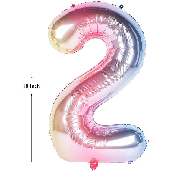 New 18 Inch Rainbow Digit Foil Birthday Party Balloons Number 2