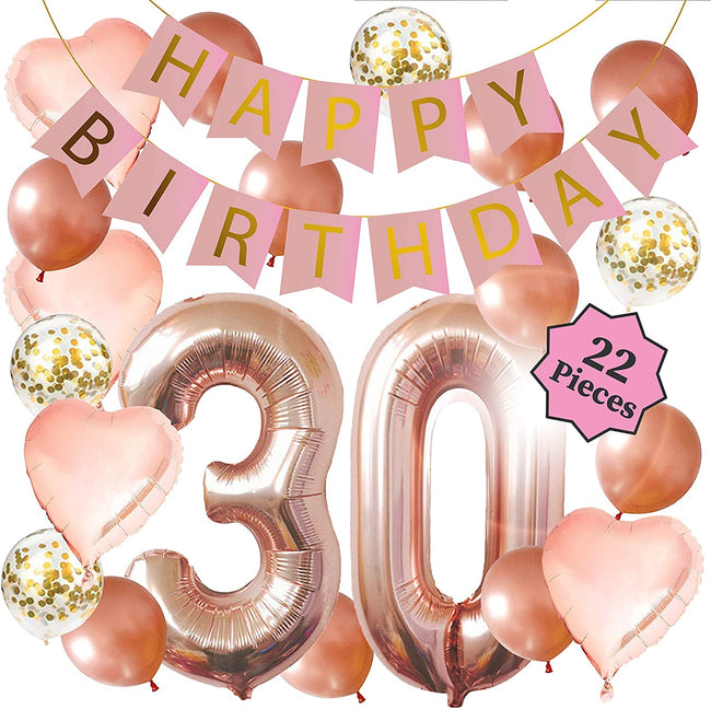 30TH BIRTHDAY PINK AND GOLD DECORATION KIT- 16 INCH 30TH ROSE GOLD BALLOONS, HAPPY BIRTHDAY BANNER, CONFETTI BALLOONS, ROSE GOLD HEART BALLOONS