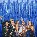 2pcs 3ft x 6ft Blue Metallic Tinsel Foil Fringe Curtains Photo Booth Props for Birthday Wedding Engagement Bridal Shower Baby Shower Bachelorette Holiday Celebration Party Decorations