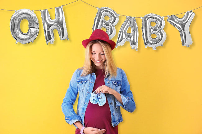 "16 inch Silver Letter  ""OH BABY ""Banner for Baby Welcome, Birthday Party Decoration,Baby Shower"