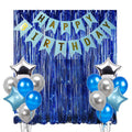 """Blue And Silver Decorations""-Banner, Foil Balloons And Fringe Curtain Decorations"