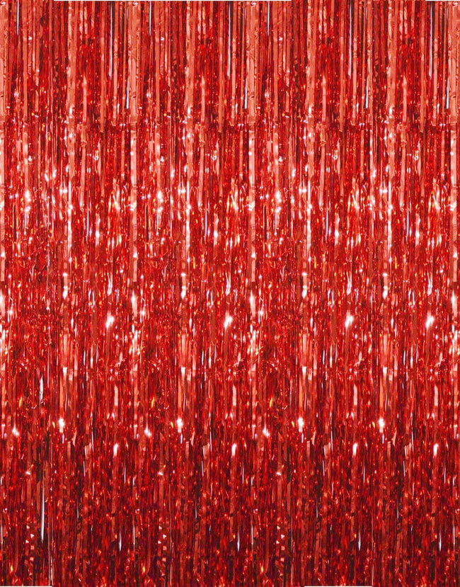 3ft x 6ft Red Metallic Tinsel Foil Fringe Curtains Photo Booth Props for Birthday Wedding Engagement Bridal Shower Baby Shower Bachelorette Holiday Celebration Party Decorations