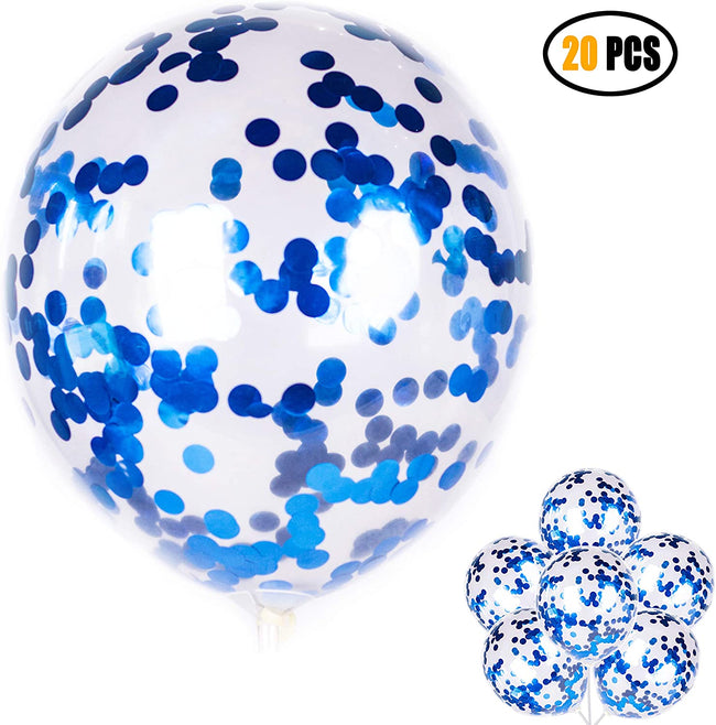 """Blue"" - 12-inch Transparent Balloon 20pcs Confetti Balloons Inflatable Wedding Supplies Party Wedding Decoration Blue"