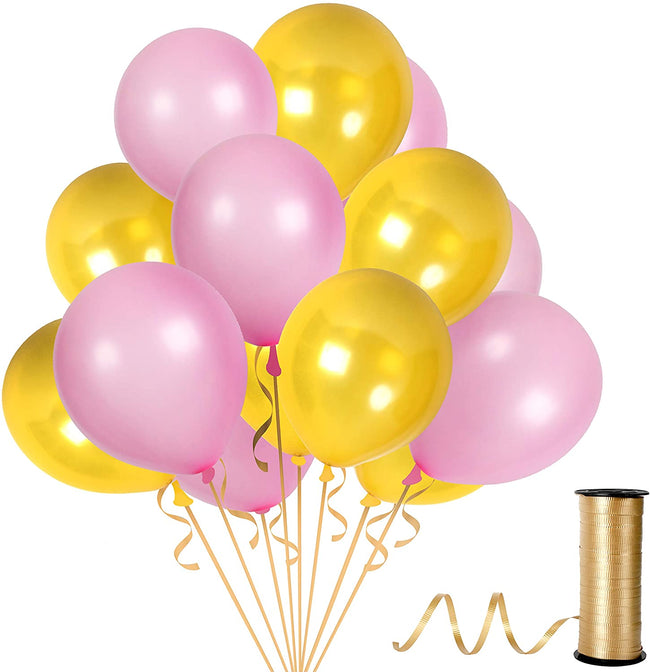 Golden and Pink Balloons 9 Inch latex Balloon for Birthday Party, Milestone Decorations, Princess Party