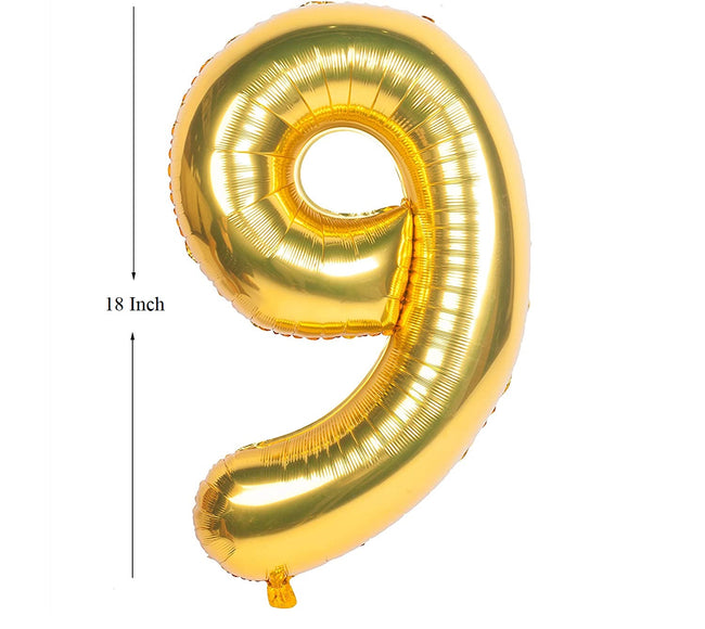 Gold digit Foil Birthday Party Balloon Number 9