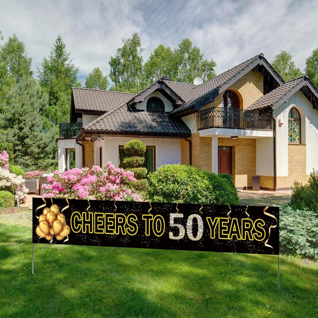 Cheers to 50 Years Banner- Black Gold 50 Anniversary Party Sign/ 50th Happy Birthday Banner