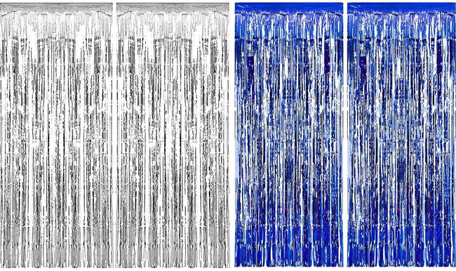 4 Packs 3ft x 6ft Blue Silver Metallic Tinsel Foil Fringe Curtains Photo Booth Props for Birthday Wedding Engagement Bridal Shower Baby Shower Bachelorette Holiday Celebration Party Decorations