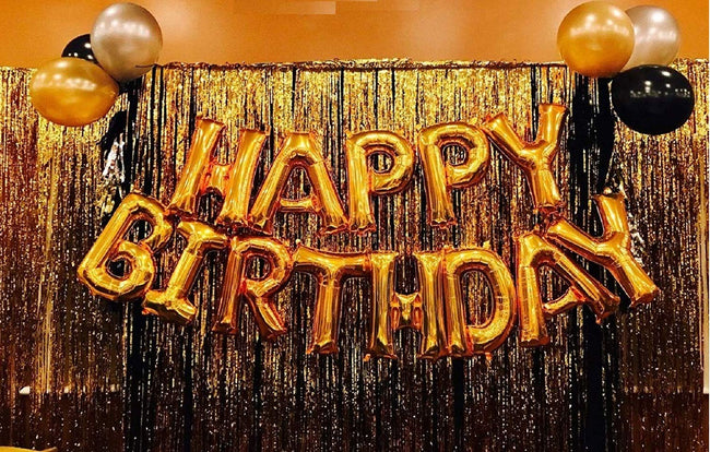 Happy Birthday Letter Foil Balloon Set of Gold + 2 Pcs of Gold Fringe Curtain (3 X 6 Feet) + Pack of 30 pcs Metallic Balloons (Black, Gold and Silver)