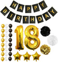 "18th Happy Birthday Party Balloons, Supplies & Decorations - 32 Pc Set - Large 18 Years Foil Balloon 12"" Gold, White and Black Latex Balloon Decoration - Decor Suitable for All Adults"