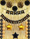 Happy Retirement Party Decoration, Black and Gold Happy Retirement Banner with Latex Balloons, Pom Poms Flowers and Gold Foil Curtain, Perfect Party Supplies for Retirement Decorations
