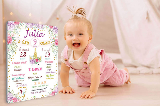 Baby Monthly Milestone - Personalized Baby Milestone Board for Baby Girl Unicorn First Birthday ChalkBoard