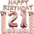 """21st Birthday Decoration Party Kit"": Rose Gold Foil Balloons Happy Birthday . 21 Foil Number , Latex and Confetti Balloons"