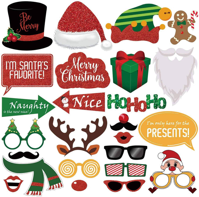 Christmas Decorations Photo Booth Props Centerpiece Decoration Party(Pack of 25)