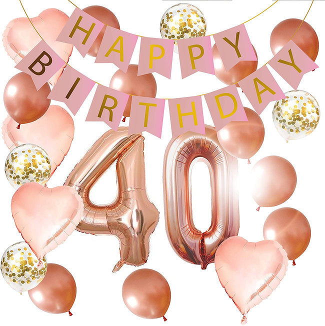 """40TH BIRTHDAY ROSE GOLD DECORATION KIT""- 16 INCH 50TH ROSE GOLD BALLOONS, HAPPY BIRTHDAY BANNER, CONFETTI BALLOONS, ROSE GOLD HEART BALLOONS"