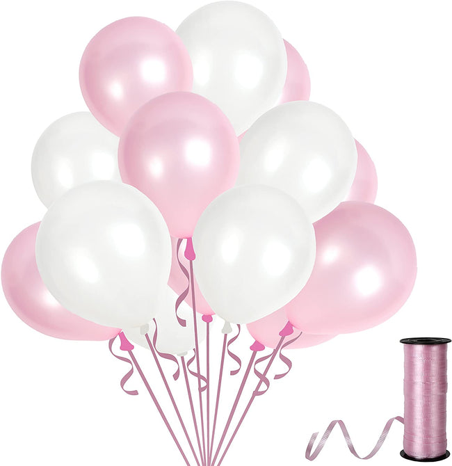 White and Pink  Balloons 9 Inch Thick  Latex Balloon for Birthday Parties,Baby Girl Decorations