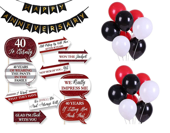 40th Anniversary Party Pack - Black Happy Anniversary Banner, Balloons & Props Set Pack- Anniversary Decorations
