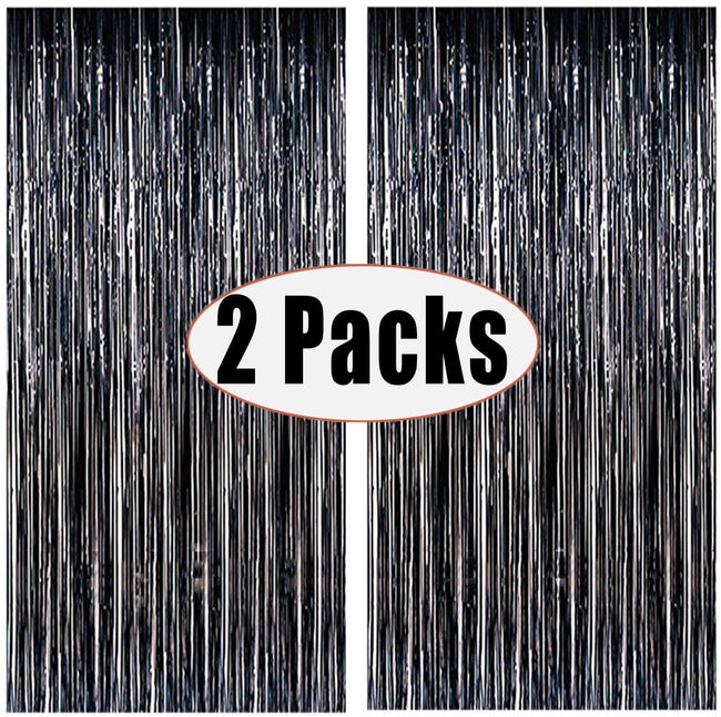 2pcs 3ft x 6ft Black Metallic Tinsel Foil Fringe Curtains Photo Booth Props for Birthday Wedding Engagement Bridal Shower Baby Shower Bachelorette Holiday Celebration Party Decorations