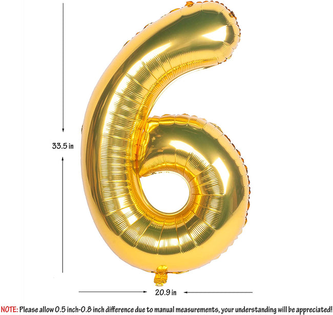 32 Inch Gold Digit Helium Foil Birthday Party Balloons Number 6