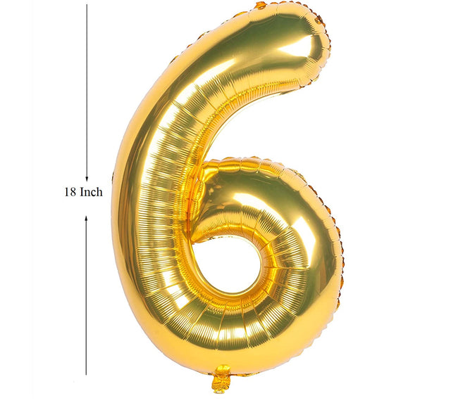 Gold digit Foil Birthday Party Balloon Number 6