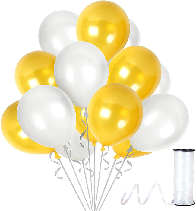Metallic Golden and White  Balloons 9 Inch Thick  Latex Balloon  for Birthday Party ,Milestone Decorations,Prince Party