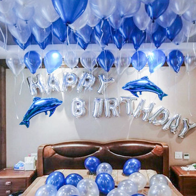 Happy Birthday Decoration Kits, Ocean Dolphin Balloons for Party Supplies(Blue and Silver)-Set of 53