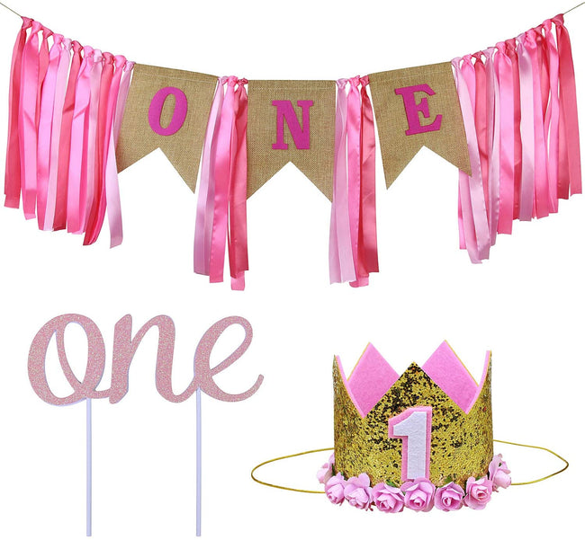 1st Birthday Decoration for Girl - Girl First Birthday Decoration Including Number 1 Crown,one Burlap Banner High Chair Decoration and Cake Topper