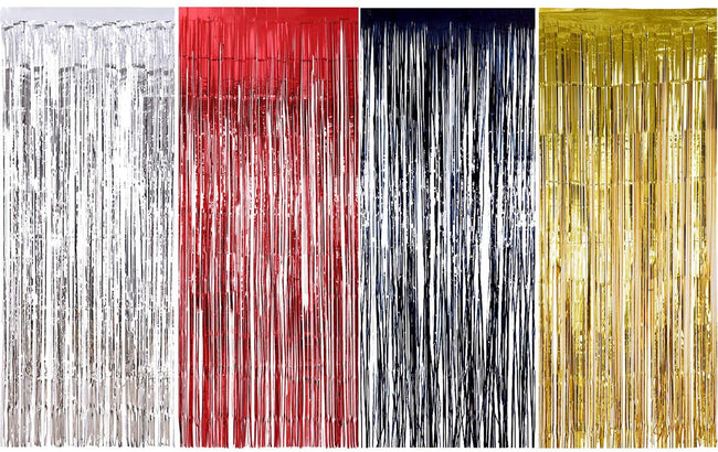 4 Packs 3ft x 6ft Red Black Gold Silver - 1 Each Metallic Tinsel Foil Fringe Curtains Photo Booth Props for Birthday Wedding Engagement Bridal Shower Baby Shower Bachelorette Holiday Celebration Party Decorations