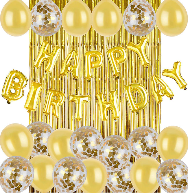 Gold Birthday Decoration Party Supplies-Gold Confetti and Gold Chrome Balloons-(10 Piece) Happy Birthday Balloons-Gold Balloons-Gold Fringe Curtain Backdrop