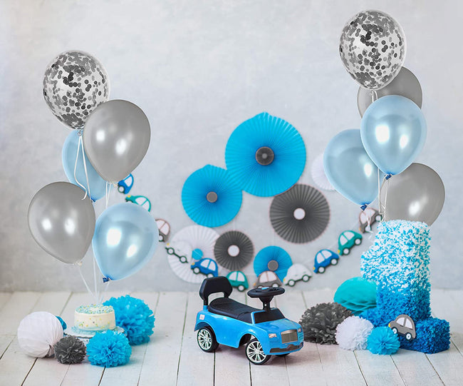 Metallic Silver and Blue Balloons and 12 Inch Silver Confetti Balloon(with ribbon) - Pack of 40 Baby Arrival,  Birthday Party Wedding Bridal Shower Party Decoration
