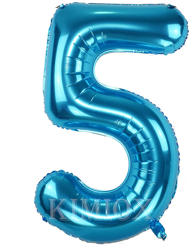 Blue digit Foil Birthday Party Balloon Number 5