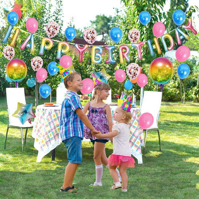 Birthday Decorations Party Supplies, Colorful Balloons Happy Birthday Decorations,Happy Birthday Banner Foil Rainbow Balloons for Boys and Girls Birthday Decorations
