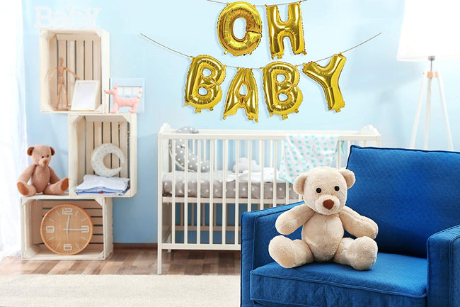 "16 inch gold Letter Mylar  ""OH BABY "" Gold Banner for Baby Welcome , Birthday Party Decoration,Baby Shower"
