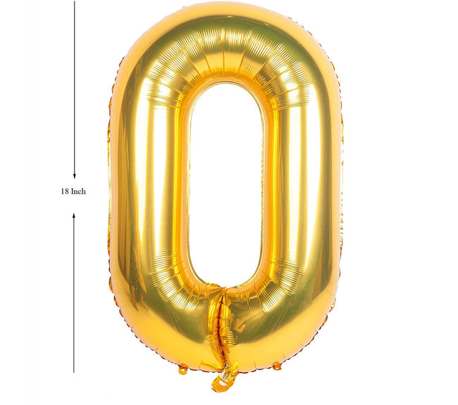 Gold digit Foil Birthday Party Balloon Number 0