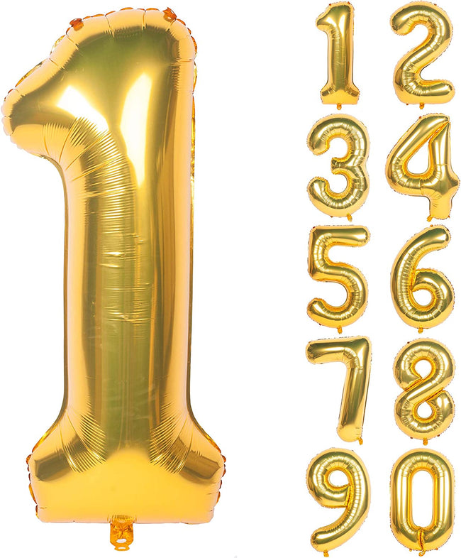 32 Inch Gold Digit Helium Foil Birthday Party Balloons Number 1