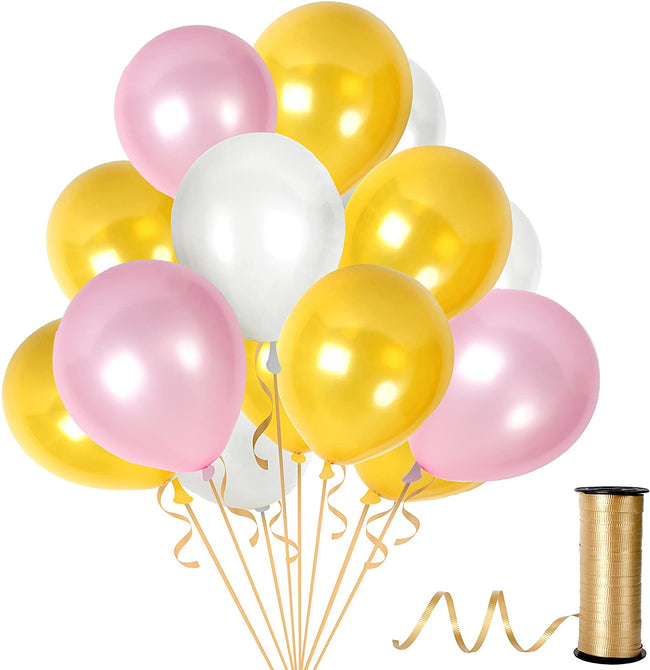 Metallic Pink  Golden and White  Balloons 9 Inch Thick  Latex Balloon for Birthday Party ,Milestone Decorations,Princess Party