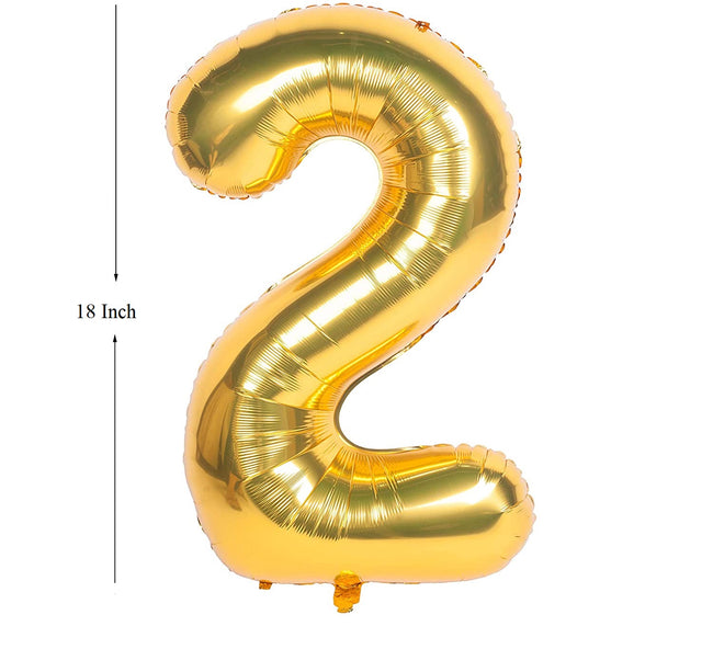 Gold digit foil Birthday Party Balloon Number 2