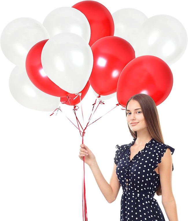 Red And White Latex Balloon Pack of 50  for Birthday Parties,  ,Anniversary Parties  , Love Theme Parties