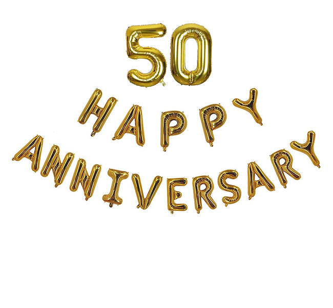 50th Anniversary combo -Happy Anniversary Letter Gold Foil Balloon + 50 Number Balloon