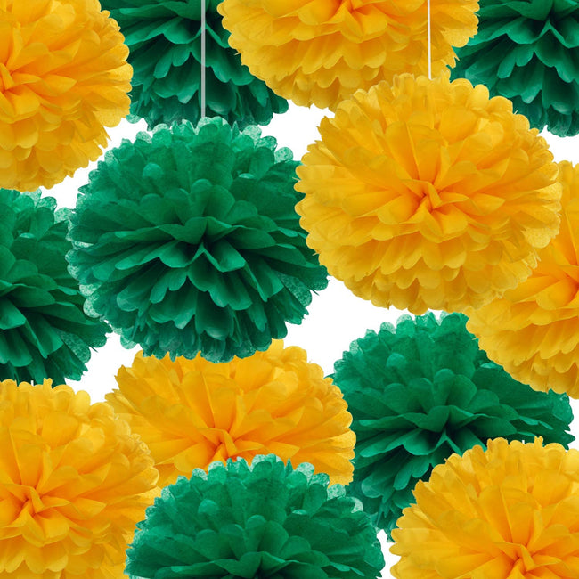 """Green and Yellow""  Pom Pom flower Decoration  for birthday parties, Anniversary party & baby shower"