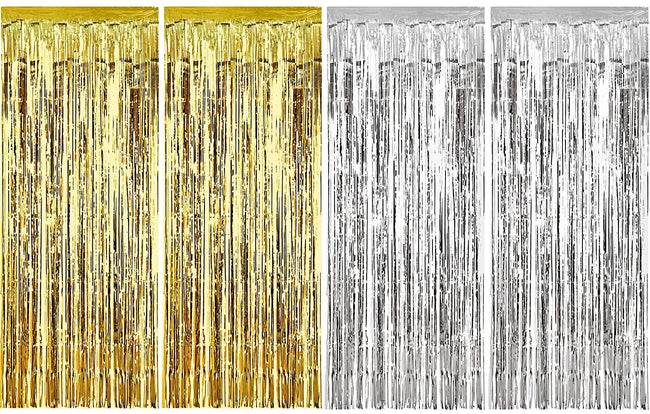 4 Packs 3ft x 6ft Gold Silver Metallic Tinsel Foil Fringe Curtains Photo Booth Props for Birthday Wedding Engagement Bridal Shower Baby Shower Bachelorette Holiday Celebration Party Decorations