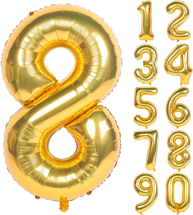 Gold digit Foil Birthday Party Balloon Number 8