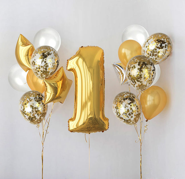 Metallic Gold and White Balloons and 12 Inch Gold Confetti Balloon(with ribbon) - Pack of 40 Baby Arrival,  Birthday Party Wedding Bridal Shower Party Decoration